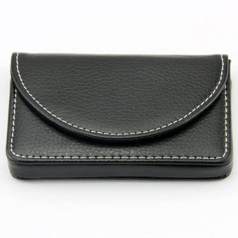 ... Men's Business Name Card Leather Wallet Holder with Magnetic ShutBlack - intl - 3
