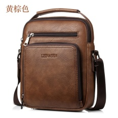 Men's Leather Casual Messenger bag shoulder bag large-capacity multi-purpose Yellow Brown – intl