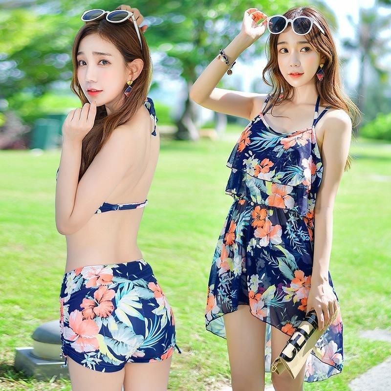 Nơi bán Momen's Three Piece Steel Holder Bikinis Gather Thin Swimsuit - intl