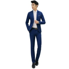 Moonar Fashion Men Business Leisure Single Button Suit Two-piece Suits Groom Wedding Party Sets ( Navy Blue ) – intl