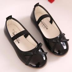 Moonar Trẻ Em Bé Gái Màu Nơ Trang Trí Công Chúa Giày Form Đầm Suông Giày Slip-on (Đen)-quốc tế
