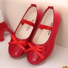 Moonar Trẻ Em Bé Gái Màu Nơ Trang Trí Công Chúa Giày Form Đầm Suông Giày Slip-on (Đỏ)-quốc tế