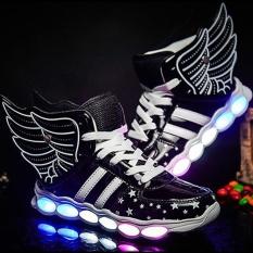 Moonar Mới Thời Trang Bé Trai Gái LED USB Giày Thể Thao Sneaker Cánh Giày Loafer Trẻ Em (Màu Đen)-quốc tế