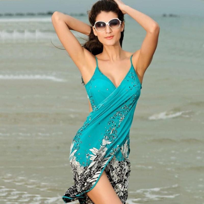 Nơi bán Moonar Women Beach Bikini Floral Backless Dress Swim Cover Scarf - intl