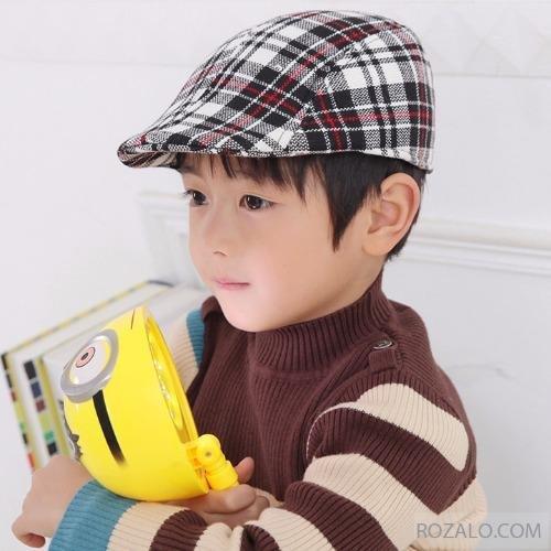 Mũ beret trẻ em ROZALO RME3541CDT (Caro đen kẻ sọc trắng)