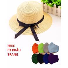 Mũ Cói Vành Nhỏ Đính Nơ + Tặng 03 Khẩu Trang sắc màu Chipxinhxk