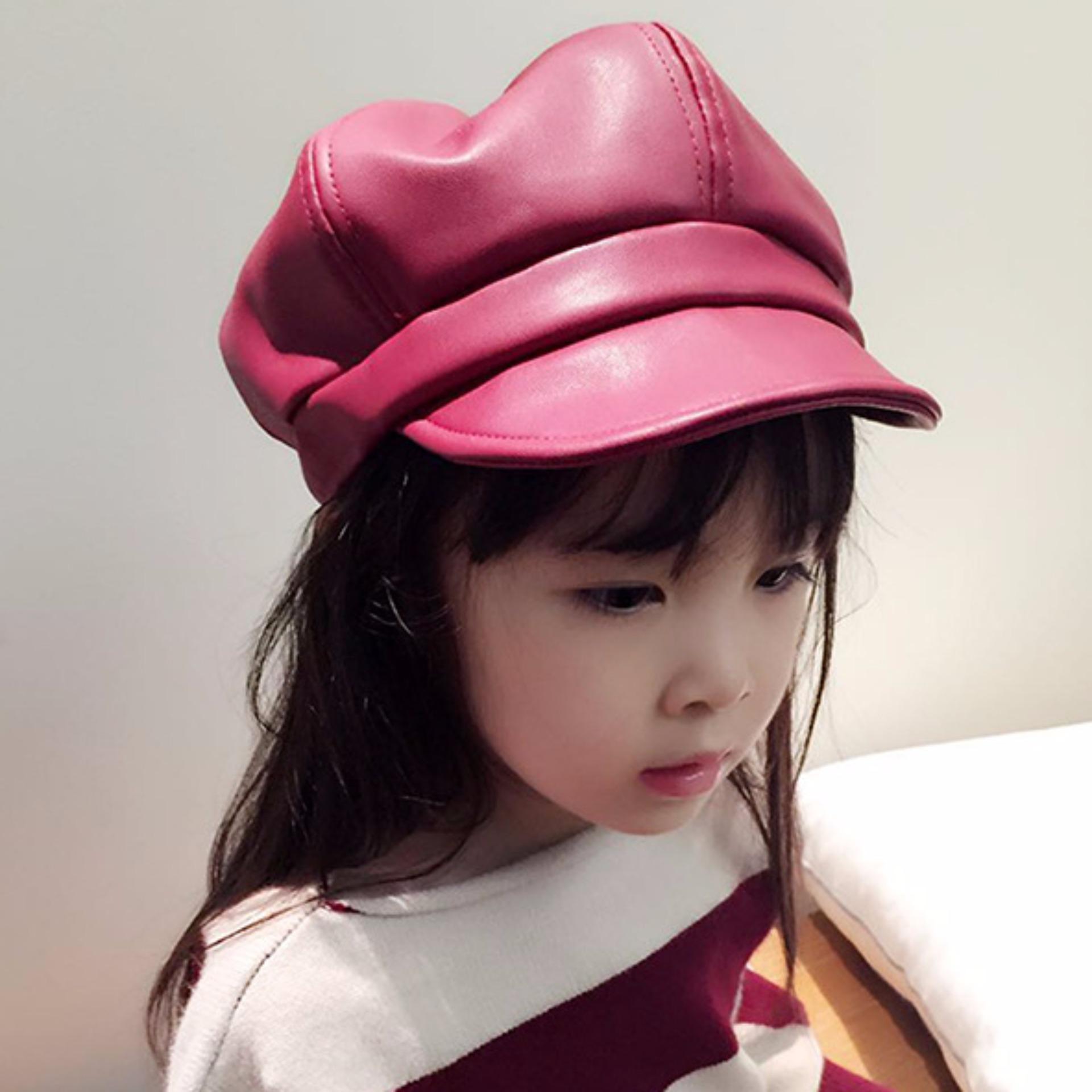 Mũ da bé gái phong cách thời trang Hàn 2018 K62 (Đỏ)