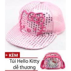 Combo mũ (nón) đính kim sa thêu hình mèo cho bé gái dễ thương (Màu hồng nhạt) + 1 túi đeo chéo dễ thương cho bé gái MLS268