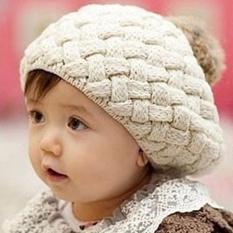 Mũ len lồi quả bông cho bé dễ thương (Be)