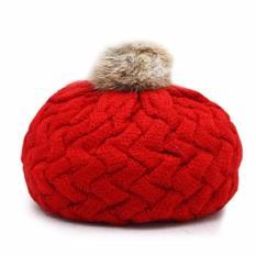 Mũ len lồi quả bông cho bé dễ thương (Đỏ)