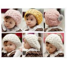 Mũ len lồi quả bông cho bé dễ thương (Vàng)