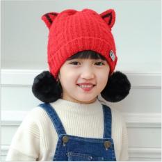 Mũ len quả bông tai mèo siêu dễ thương cho bé gái (Màu đỏ)