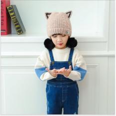 Mũ len quả bông tai mèo siêu dễ thương cho bé gái(màu xám)