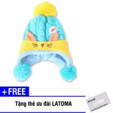 Mũ len thời trang bé gái Latoma S1412 (Xanh dương) + Tặng kèm thẻ ưu đãi Latoma