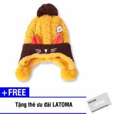 Mũ len thời trang bé gái Latoma S1413 (Vàng) + Tặng kèm thẻ ưu đãi Latoma