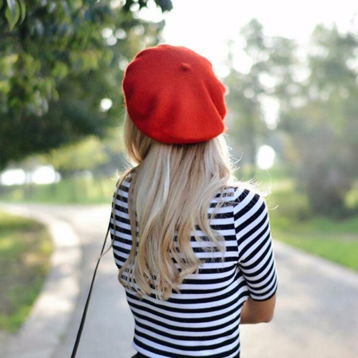 Mũ nồi cao cấp vải Wool, nón beret nữ