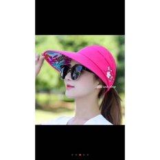 Mũ(nón ) chống nắng đính hoa-hồng đậm