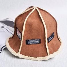 Mũ ( nón ) len tròn lót bông nữ phong cách Hàn Quốc họa tiết Những mảnh ghép xinh xắn ( Nâu )