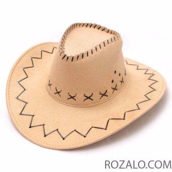 Mũ rộng vành nam kiểu cao bồi da lộn Rozalo RM2807N - Nâu - 4