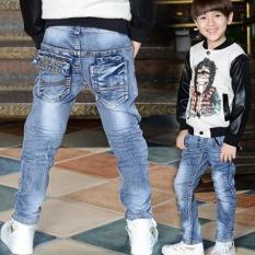 Hàng mới Về Mùa Xuân 2017 Quần Jeans Bé Trai Trẻ Tốt Áo Thêu Chữ Cái Xếp Ly Quần Jeans Slim Denim Quần 4-9 Tuổi !!! -quốc tế