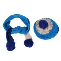 New Baby Kid Girl Boy Hat Warm Knitted Wool Cap Scarf(Blue) – intl