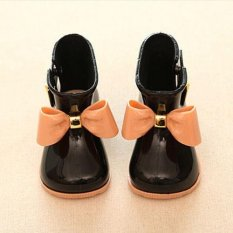 New Girl's Cute Bow Jelly Rubber Kid's Rainboots Rain Boots Princess Rain Shoes BLACK 21-12.8CM – intl