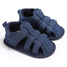 Sơ sinh-18 Tháng Mùa Hè Bé gái Bé Trai Trơn Mềm Mại Đế Giày Dễ Thương Giày Xăng S1966 Màu màu Xanh đen-quốc tế