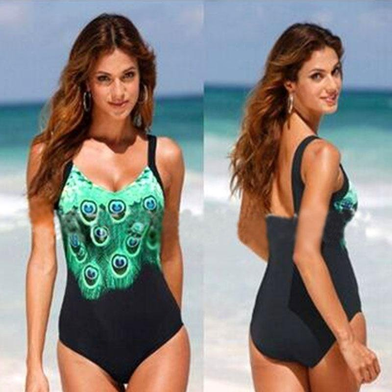 Nơi bán Newest Sexy Printed Bodycon Bikini Beach Swimwears Conservative Bathing Suits Swimsuits Backless-Black&Green Women Size S - intl
