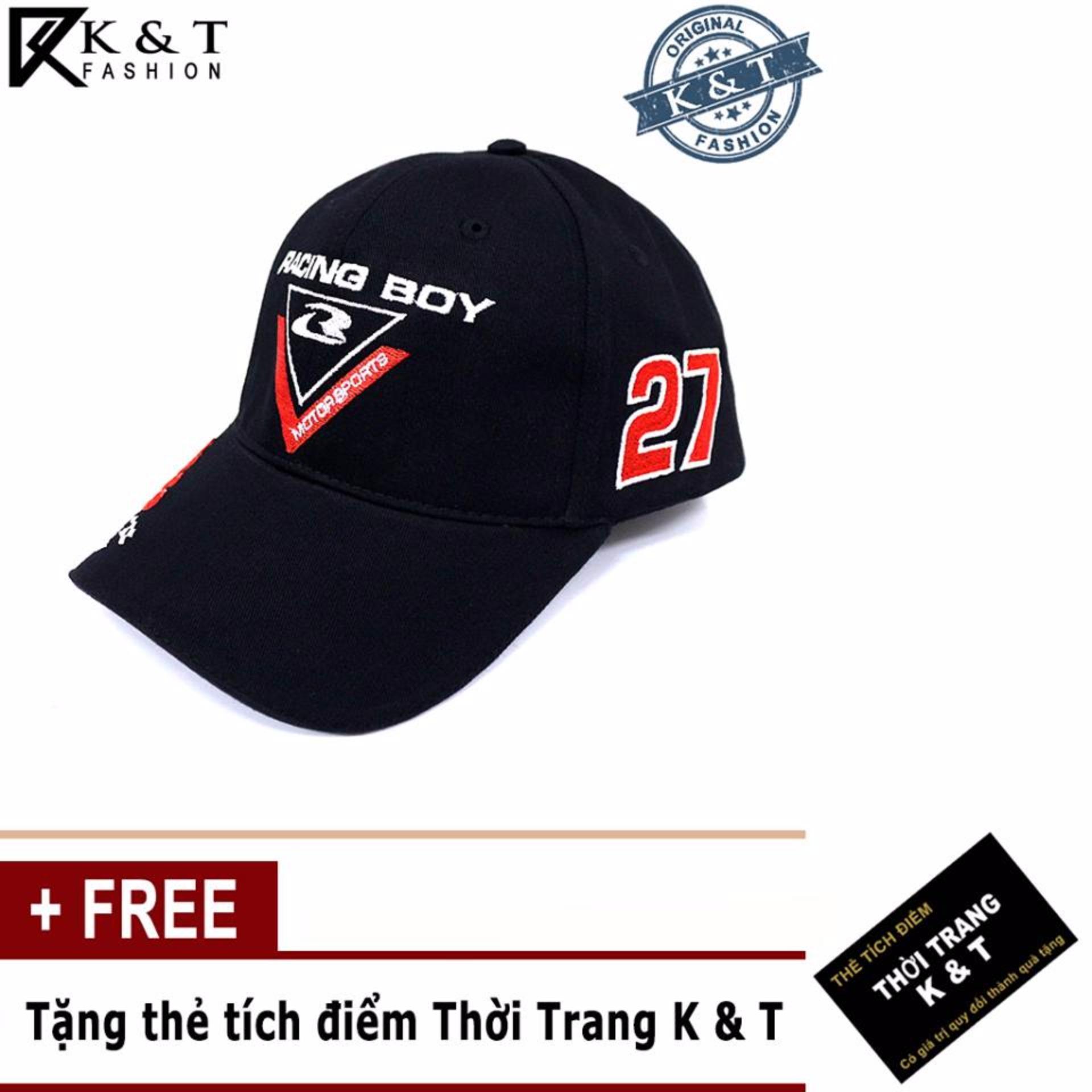 Nón Thể thao Racing Boy 27 Cao Cấp design Thời Trang K& T ( ĐEN )