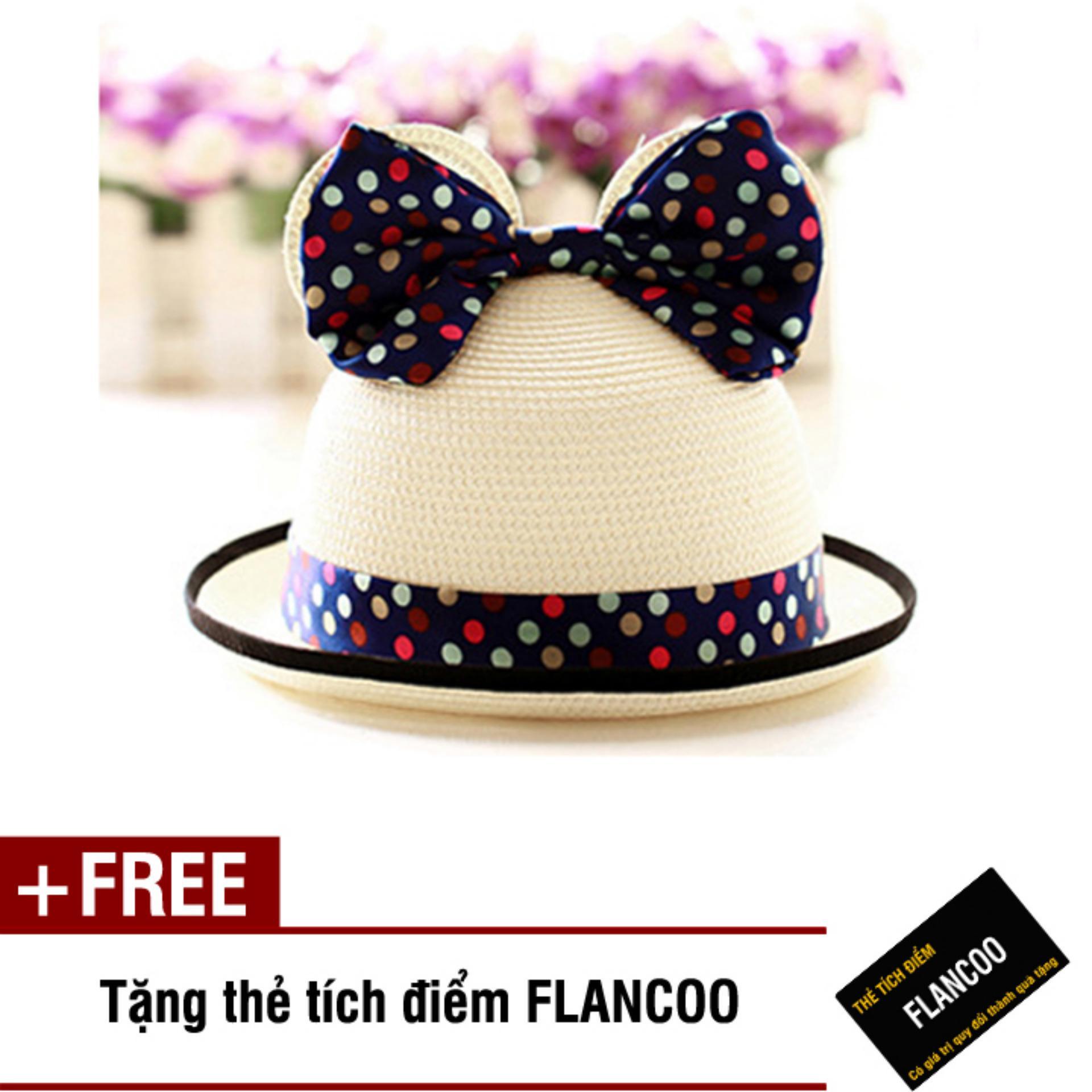 Nón trẻ em chất liệu cói Flancoo 8741 (Kem) + Tặng kèm thẻ tích điểm Flancoo