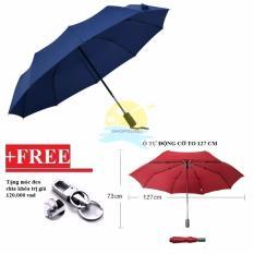 Ô đi mưa cao cấp đóng mở tự động 2 chiều cỡ lớn đường kính 127 cm đi 2 người (xanh đen + móc đeo chìa khoá)