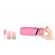 Ô dù đi mưa gấp siêu gọn chống tia UV thiết kế hình viên thuốc sành điệu (màu hồng)