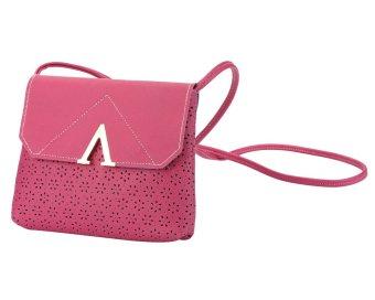 ooplm Women Hollow Envelope PU Leather Shoulder Bag (Hot Pink)(Intl) - intl