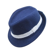 PAlight Trẻ Em Màu Vải Lanh Jazz Mũ Vành Tròn Fedora (Xanh Dương)-quốc tế
