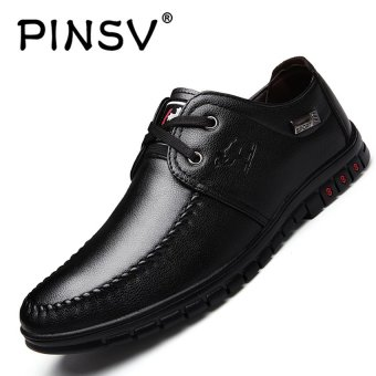 PINSV Men Casual Driving Shoes Peas Flats-Black - intl