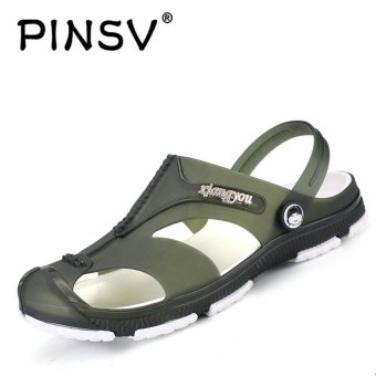 PINSV Men Flats Shoes Casual Sandals (Green) - intl