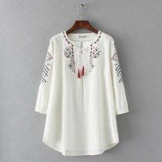 Plus Kích Thước Lớn Cổ Áo in Hoa ¾ Tay Áo Cotton dành cho nữ và các bạn gái-quốc tế