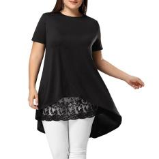 Plus Size Lace Extender Sheer Mini Skirt(Black) – intl