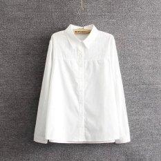 Plus Size Nữ Dài thun Cotton Nguyên Chất Áo Sơ Mi Trắng-quốc tế