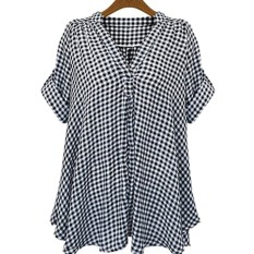 Plus Size XL- 5XL Women Loose Cotton Shirt Short Sleeve Top V-Neck Casual Plaid Blouse Women Clothing – intl