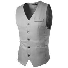 PODOM nam Slim Fit Màu điện Đơn Nút Áo Khoác Phao Thời Trang Công Sở Cổ Vest Màu Xám Nhạt-quốc tế