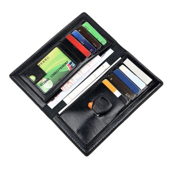 Premium PU Leather Multifunctional Large Capacity Men Wallet Black - intl