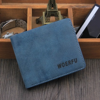 Premium PU Leather Multifunctional Large Capacity Men Wallet Blue - intl