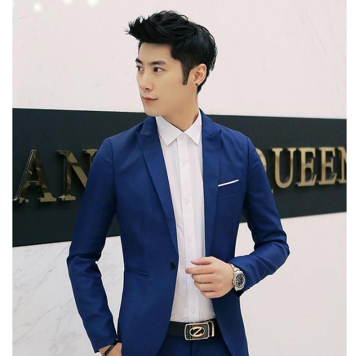 Pudding Korea Korean fashion Fashion casual suit Jacket Loose coat Blue - intl