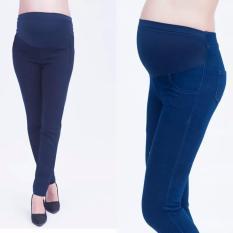 Quần legging bầu giả jean màu xanh