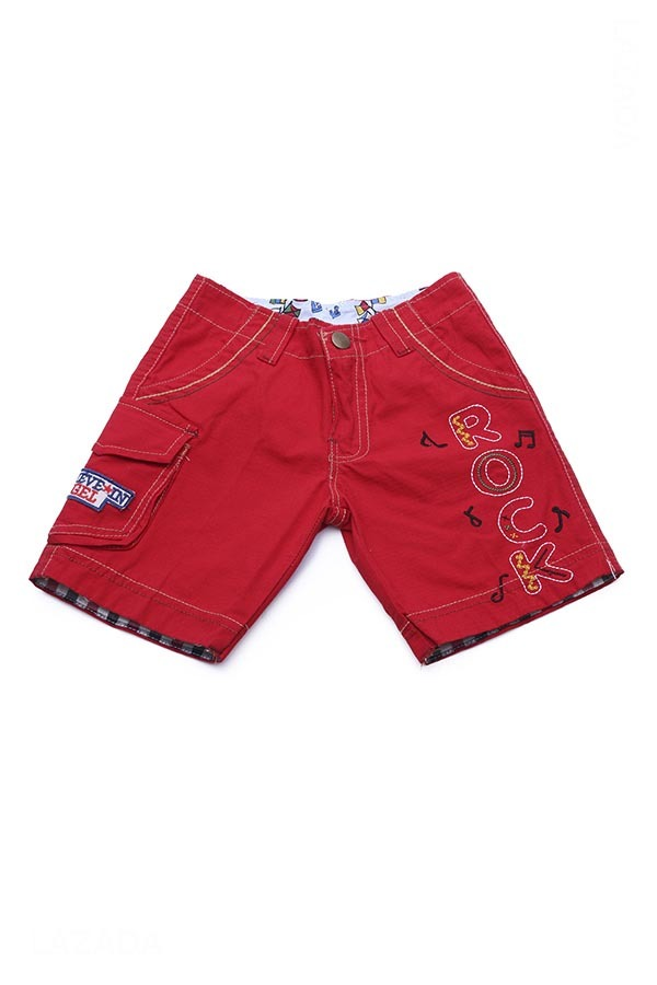 Quần short bé trai thêu chữ ROCK 1-6 tuổi Tri Lan (Đỏ) QSBT005