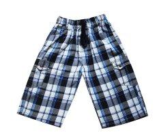 Quần short caro bé trai 5-17 tuổi Tri Lan QBT013 (Trắng – Xanh)