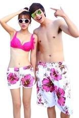 Quần short nam nữ đi biển Family Shop QD25 (Trắng họa tiết hồng)