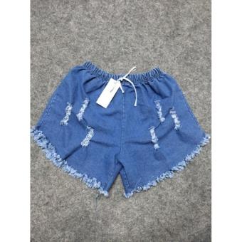 Quần short nữ jean lưng thun rách (xanh jean)
