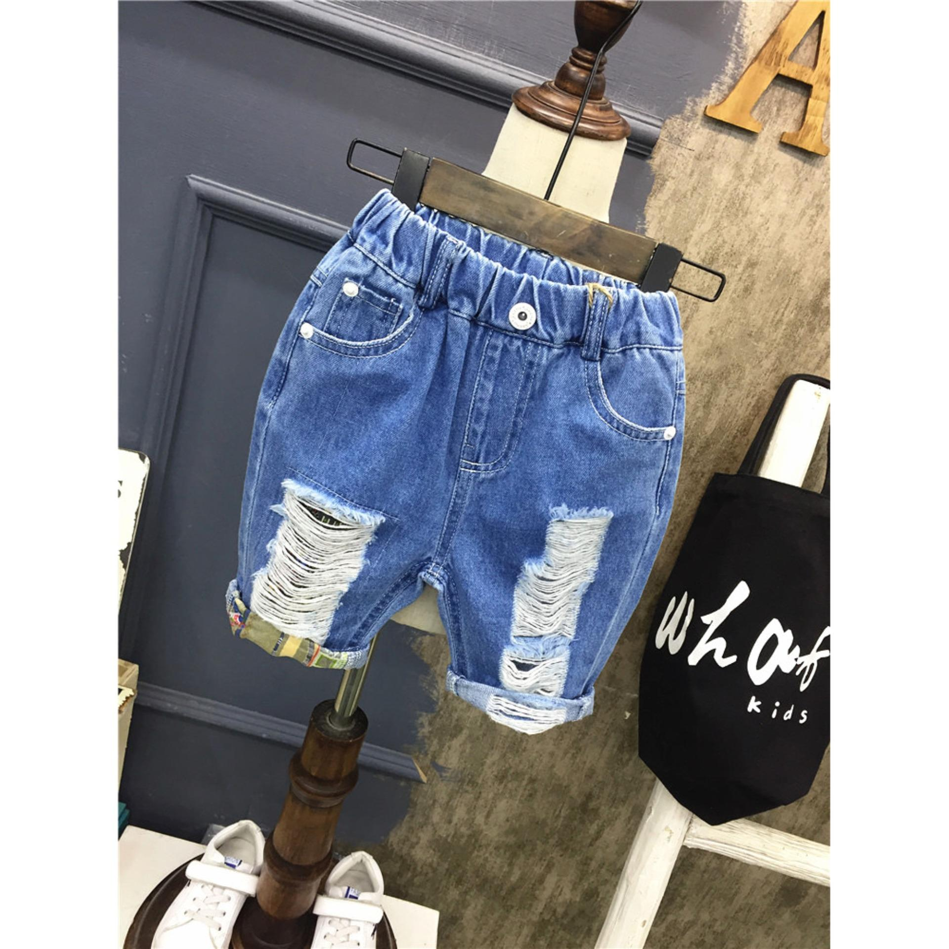 Quần sọt jeans cào rách cho bé trai cực ngầu mẫu B9